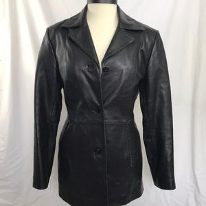 Black leather jacket 3 button small
